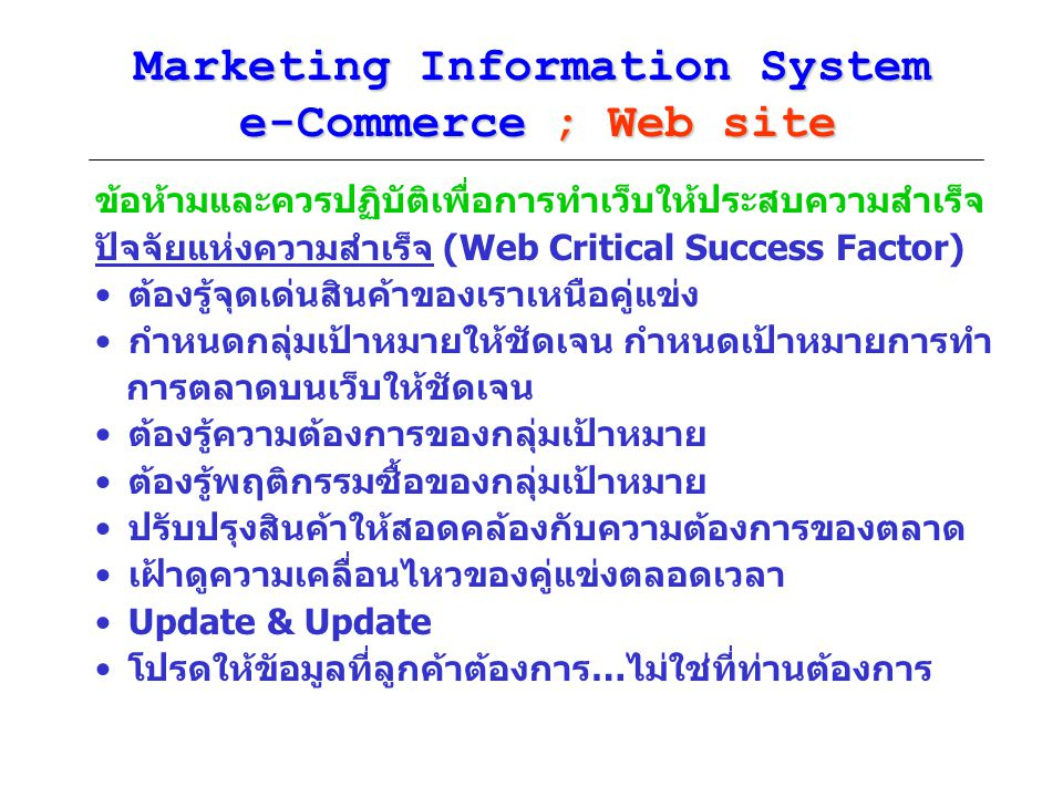 Marketing Information System e-Commerce ; Web site