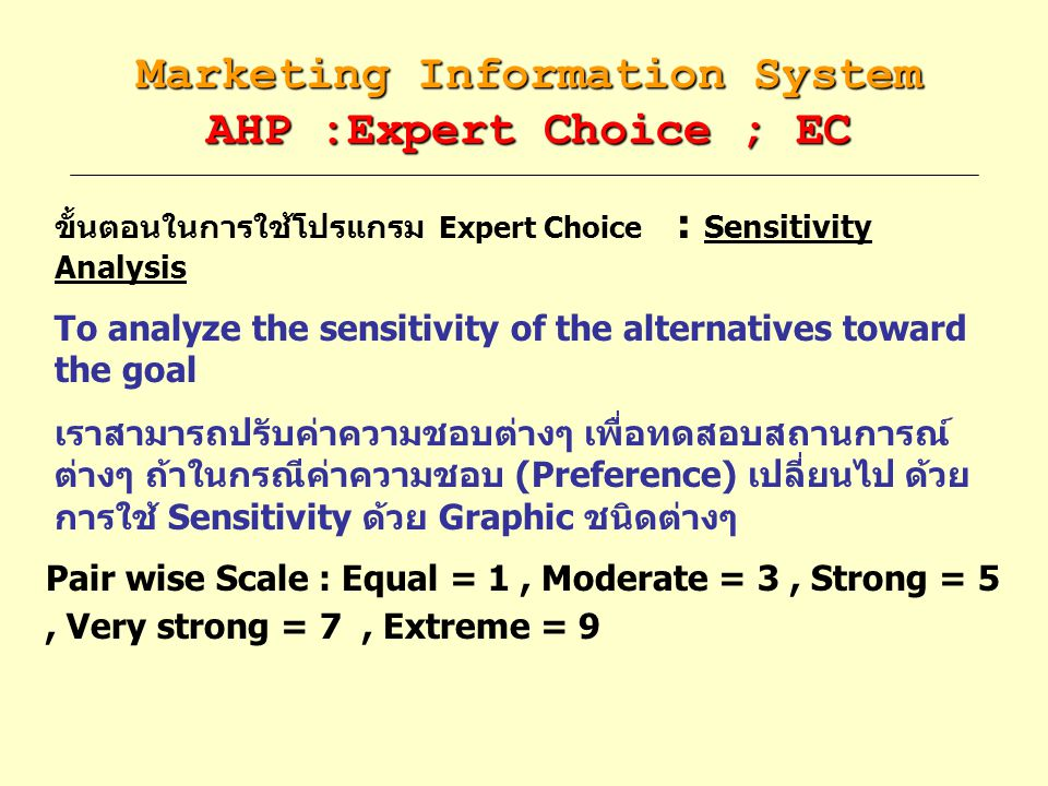 Marketing Information System AHP :Expert Choice ; EC