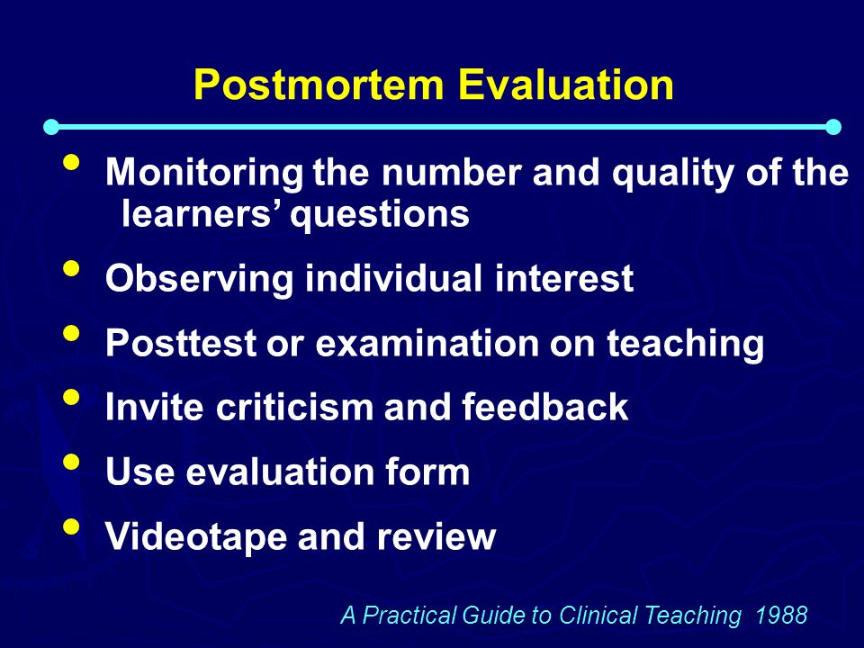 Postmortem Evaluation