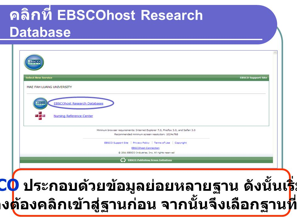 คลิกที่ EBSCOhost Research Database