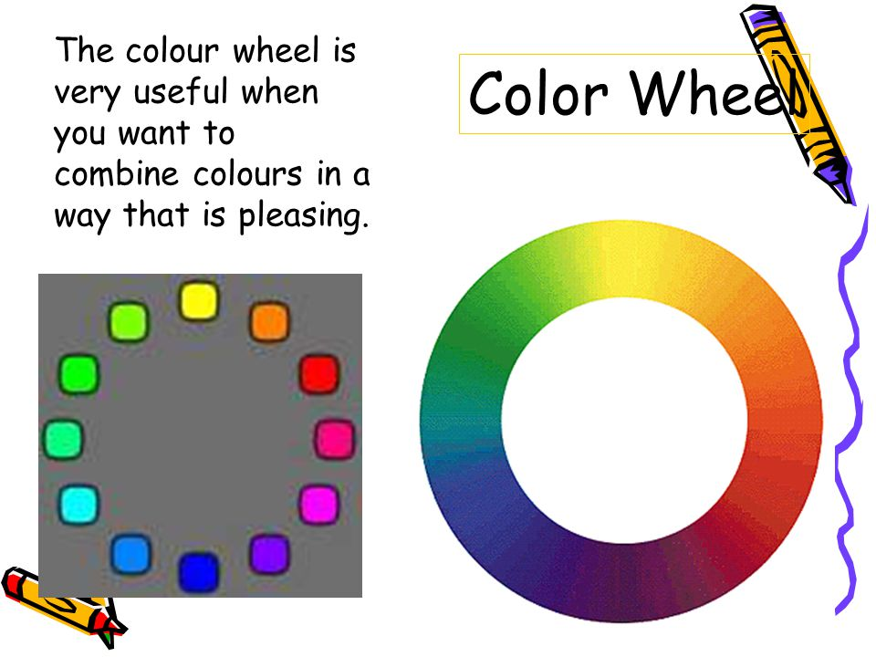The colour wheel is very useful when you want to combine colours in a way that is pleasing.