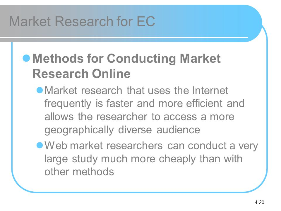 Market Research for EC Methods for Conducting Market Research Online