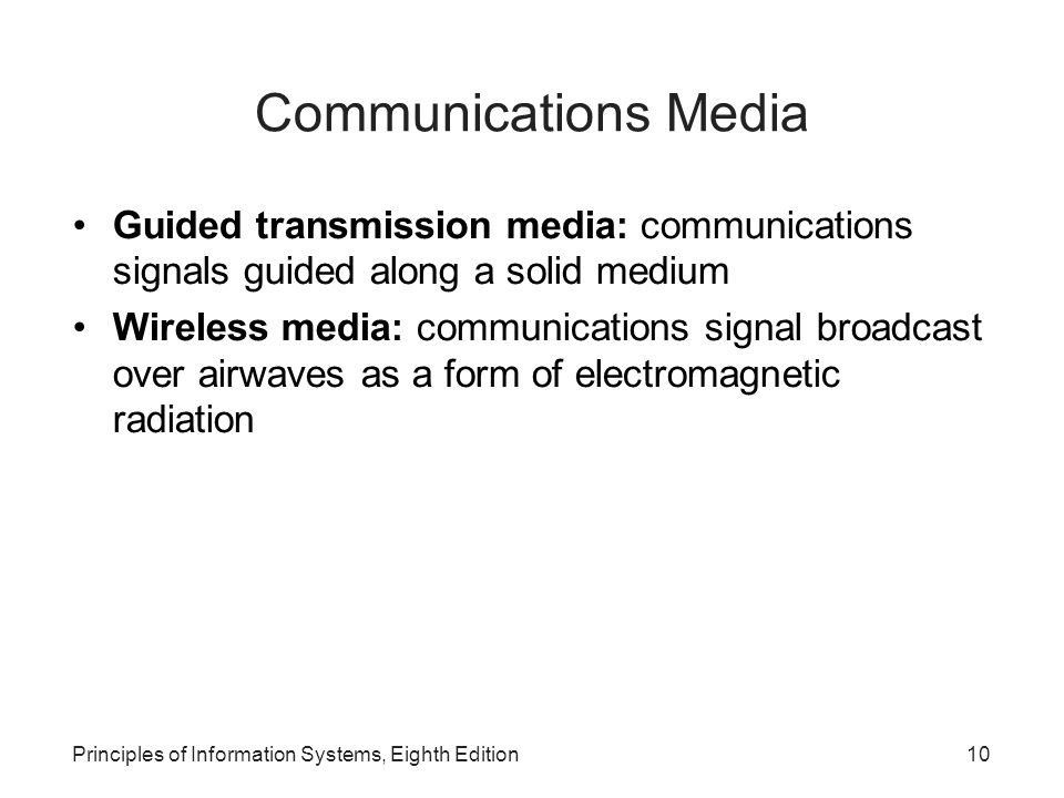 Communications Media Guided transmission media: communications signals guided along a solid medium.
