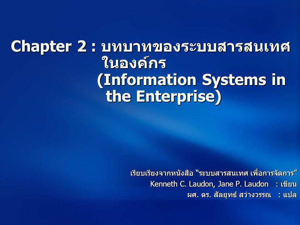 Chapter 2 : บทบาทของระบบสารสนเทศ ในองค์กร (Information Systems in the Enterprise)