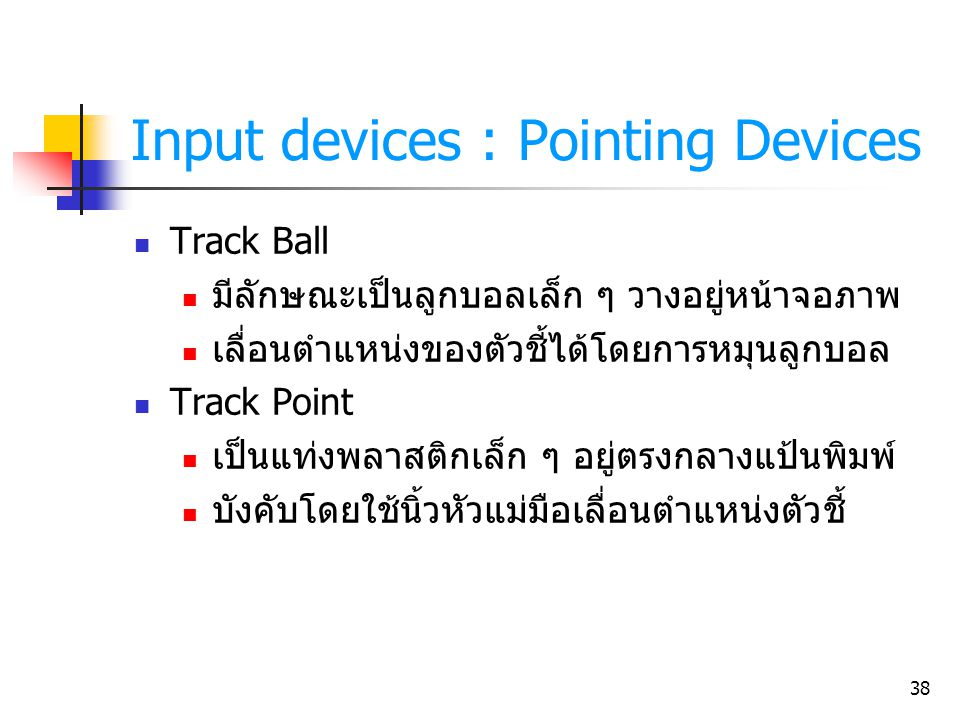 Input devices : Pointing Devices