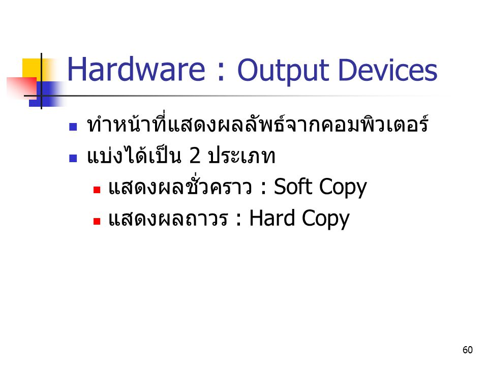 Hardware : Output Devices