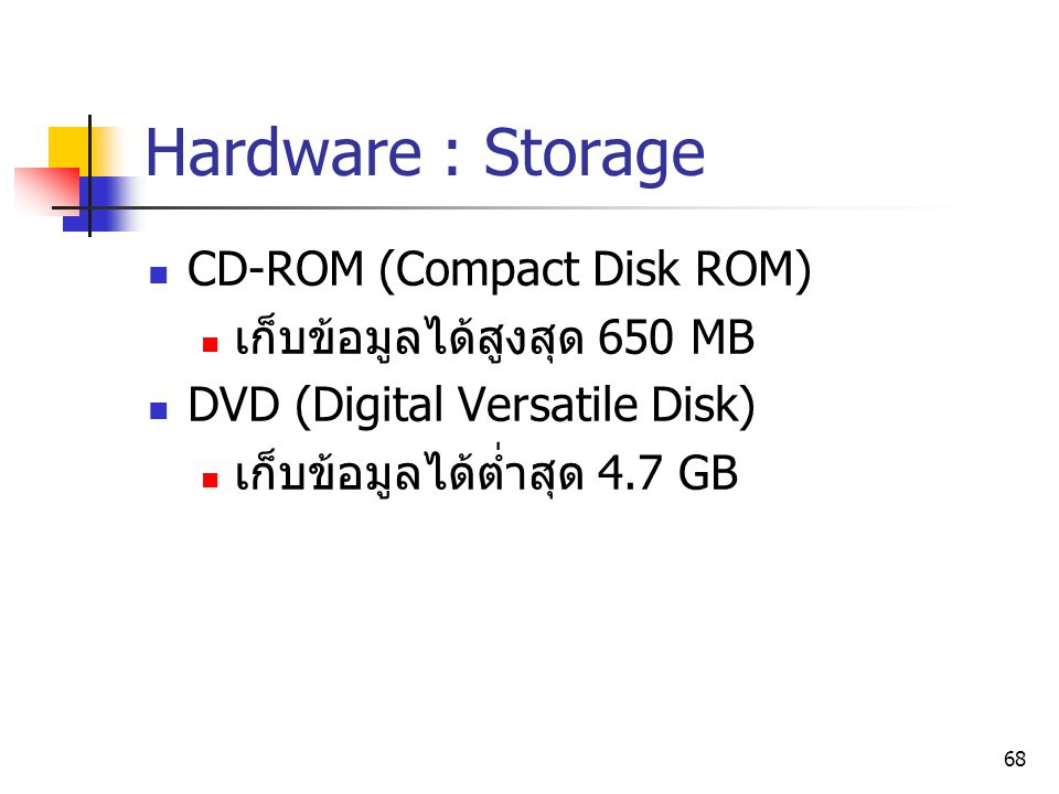 Hardware : Storage CD-ROM (Compact Disk ROM)