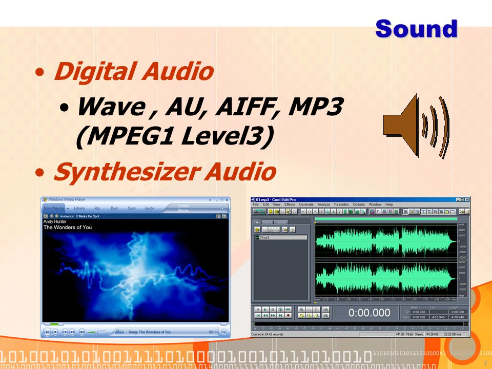Sound Digital Audio Wave , AU, AIFF, MP3 (MPEG1 Level3) Synthesizer Audio MIDI