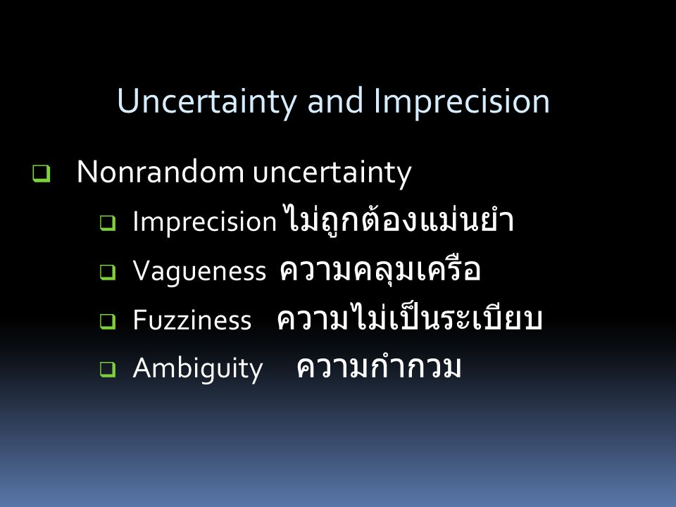 Uncertainty and Imprecision