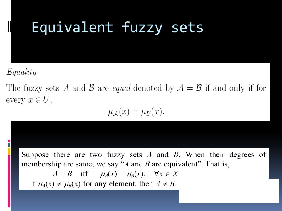 Equivalent fuzzy sets