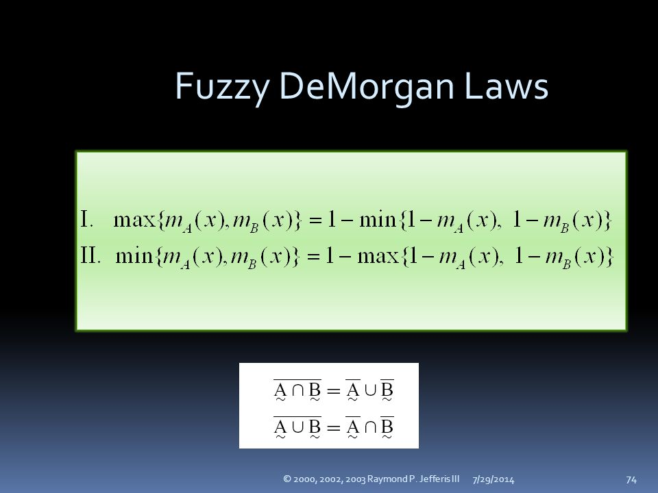 Fuzzy DeMorgan Laws © 2000, 2002, 2003 Raymond P. Jefferis III