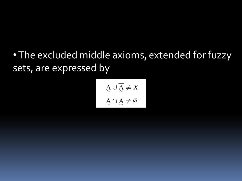 The excluded middle axioms, extended for fuzzy sets, are expressed by