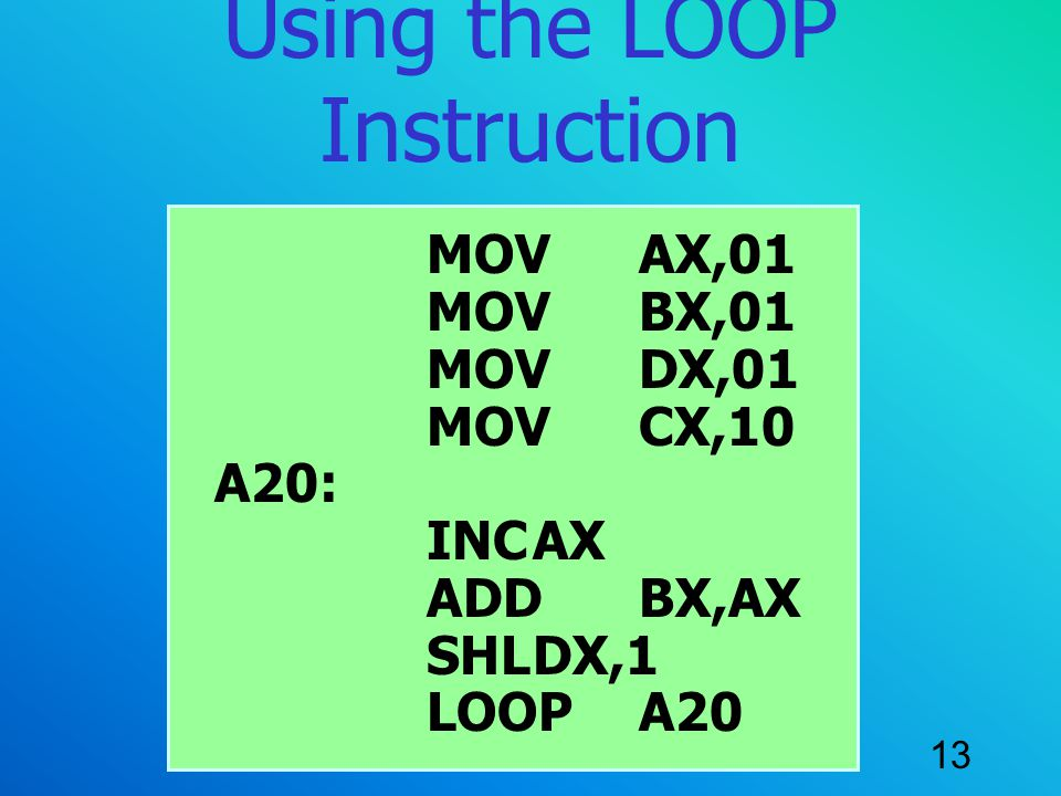 Using the LOOP Instruction
