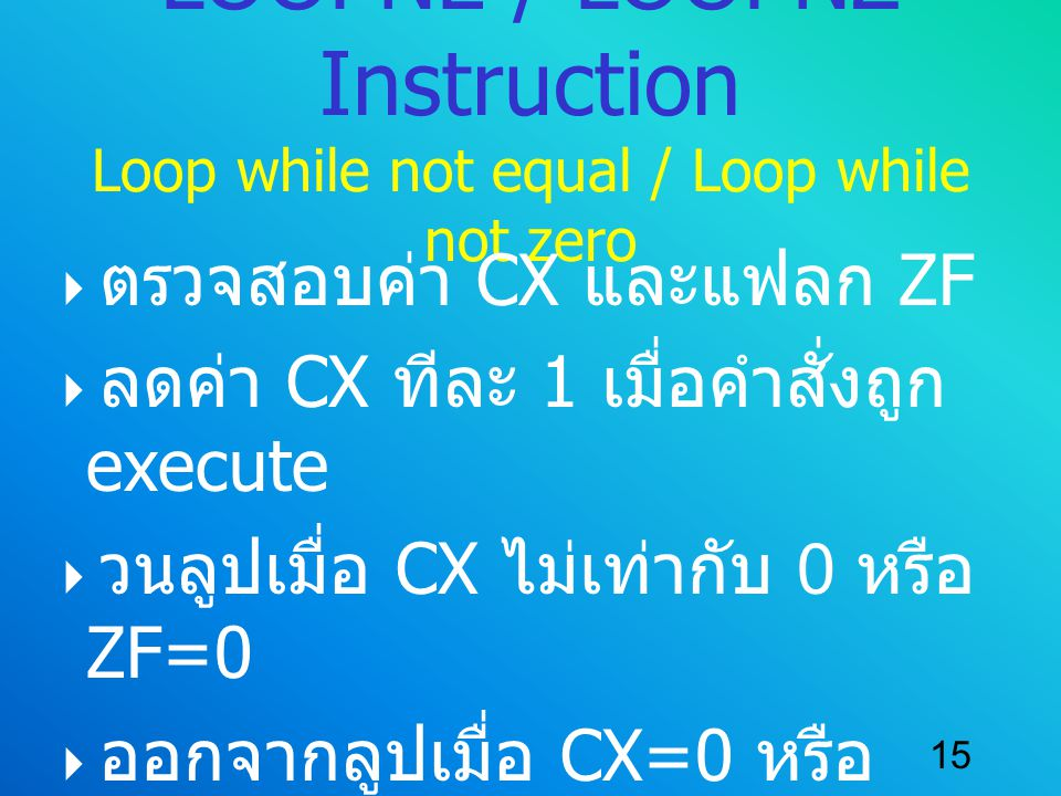 LOOPNE / LOOPNZ Instruction Loop while not equal / Loop while not zero