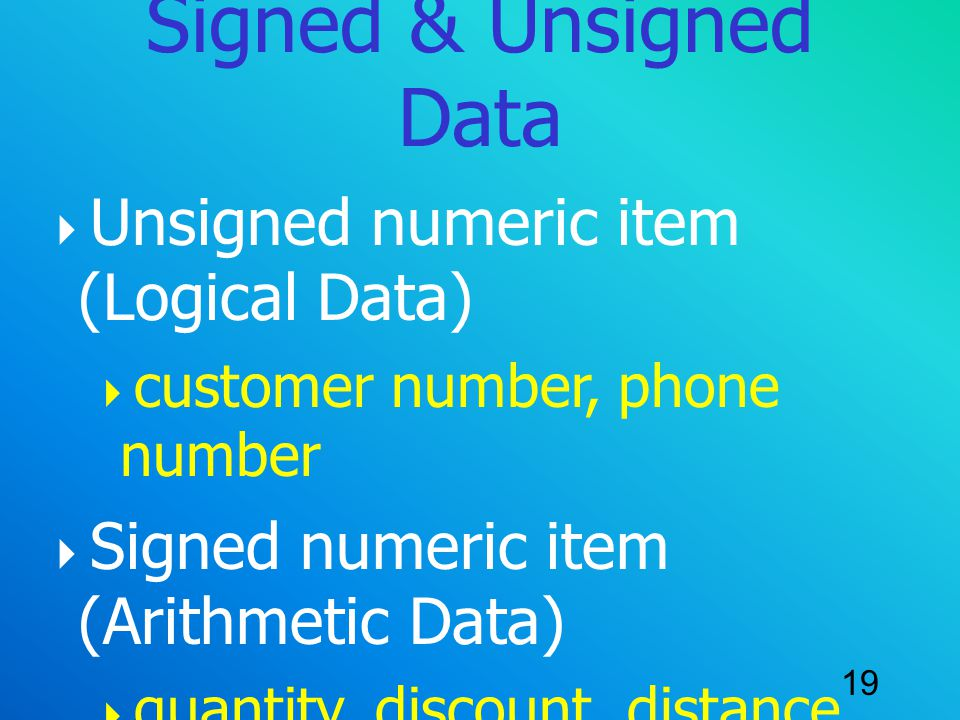 Signed & Unsigned Data Unsigned numeric item (Logical Data)