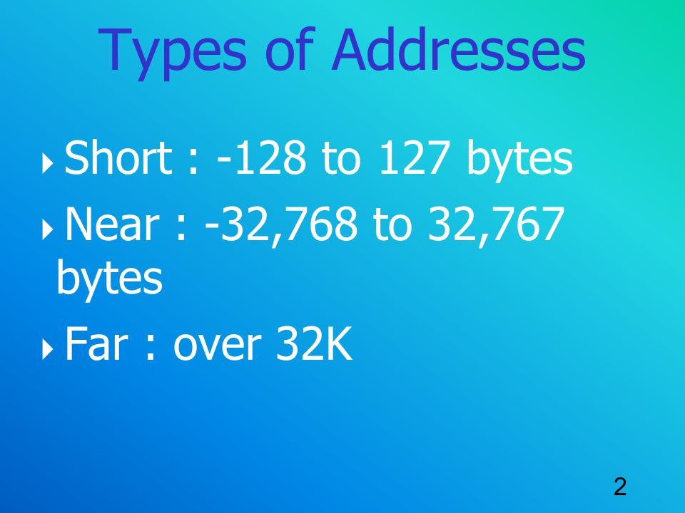 Types of Addresses Short : -128 to 127 bytes