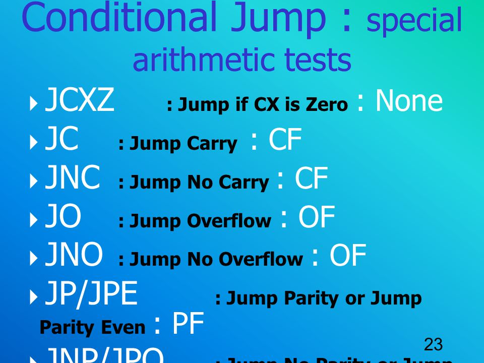 Conditional Jump : special arithmetic tests