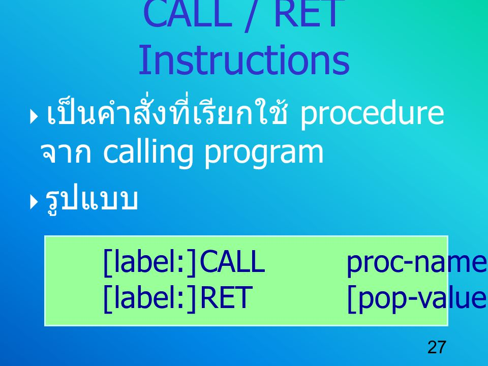 CALL / RET Instructions