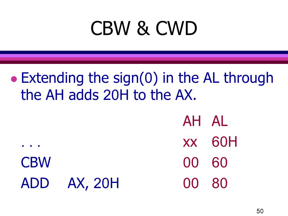 CBW & CWD Extending the sign(0) in the AL through the AH adds 20H to the AX. AH AL. . . . xx 60H.