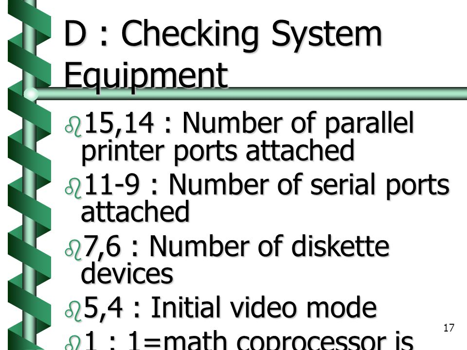 D : Checking System Equipment