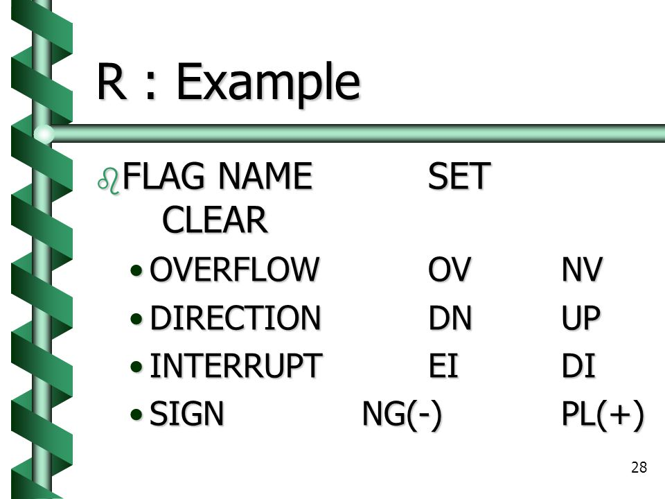 R : Example FLAG NAME SET CLEAR OVERFLOW OV NV DIRECTION DN UP