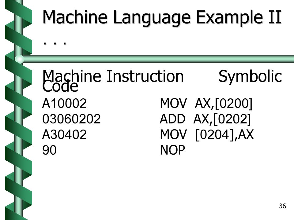 Machine Language Example II . . .