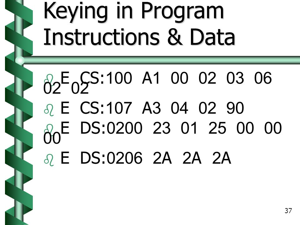 Keying in Program Instructions & Data