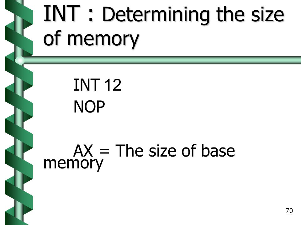 INT : Determining the size of memory