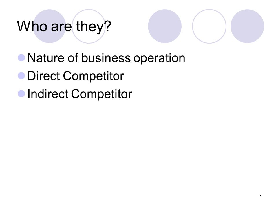 Who are they Nature of business operation Direct Competitor