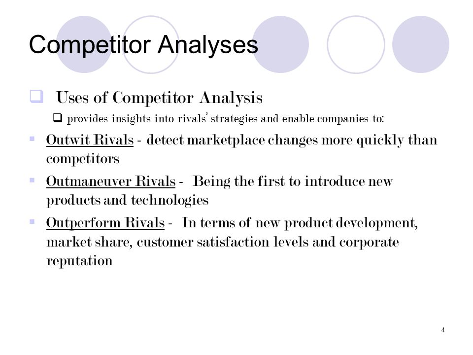 Competitor Analyses Uses of Competitor Analysis