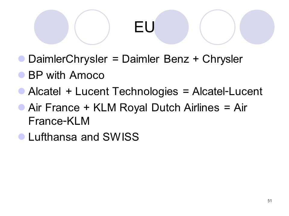 EU DaimlerChrysler = Daimler Benz + Chrysler BP with Amoco