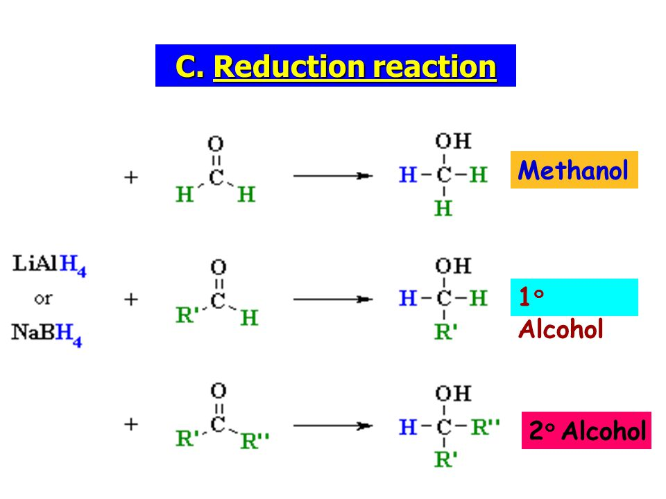 C. Reduction reaction Methanol 1๐Alcohol 2๐ Alcohol