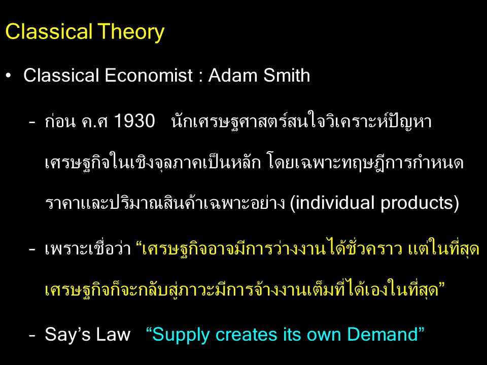 Classical Theory Classical Economist : Adam Smith
