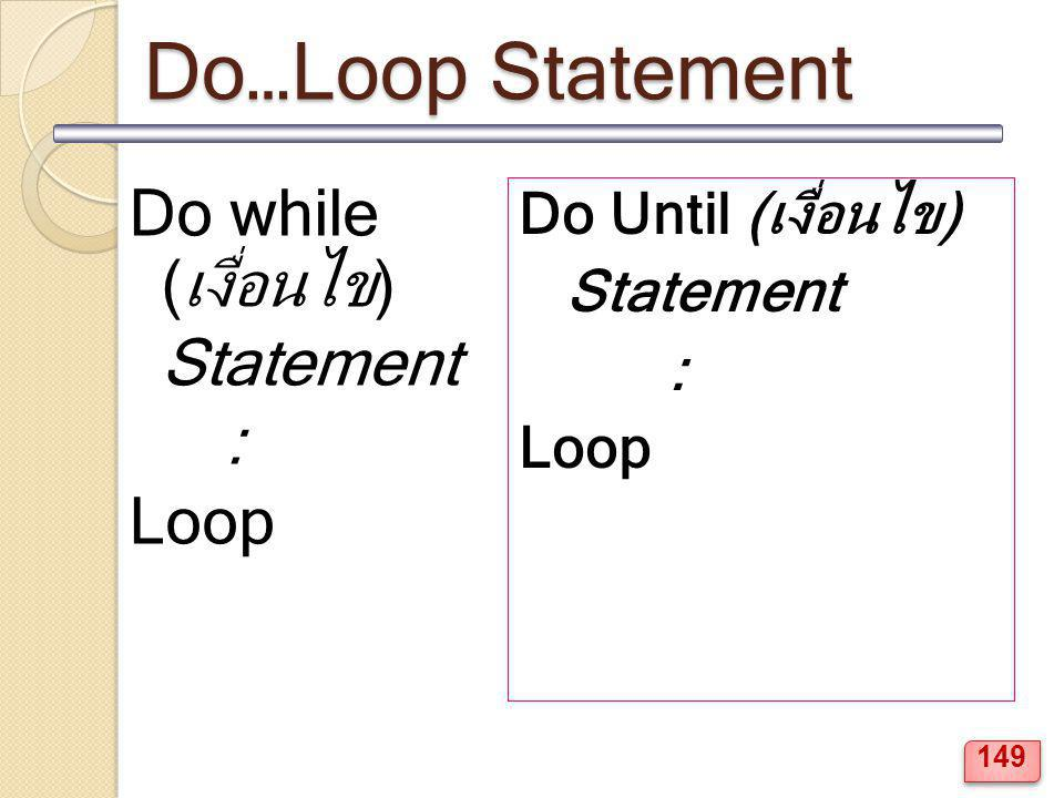 Do…Loop Statement Do while (เงื่อนไข) Statement : Loop