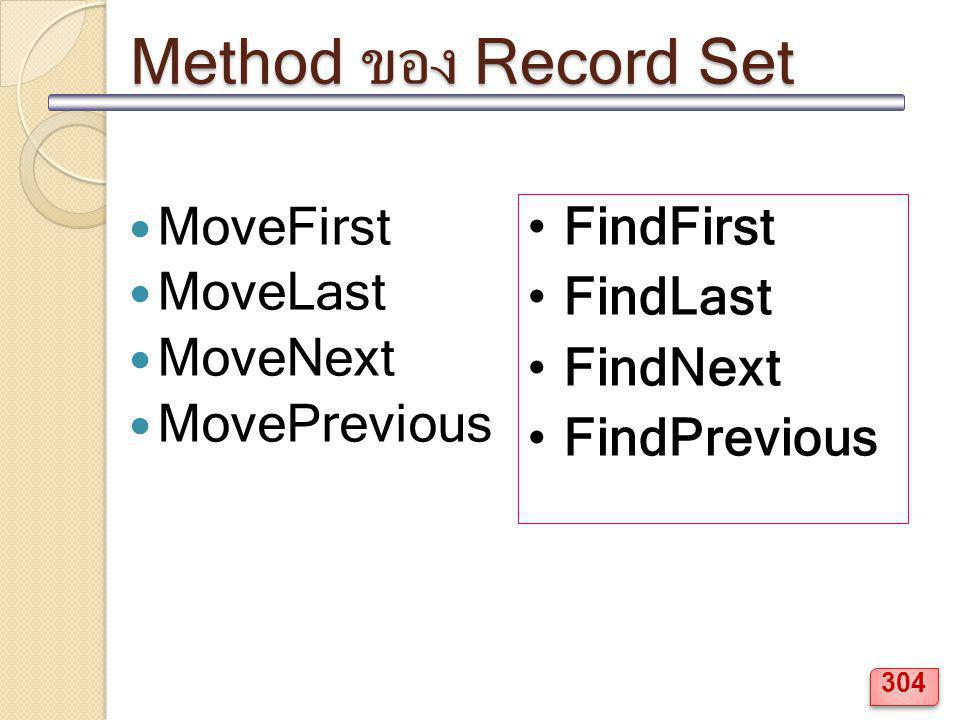 Method ของ Record Set MoveFirst MoveLast MoveNext MovePrevious