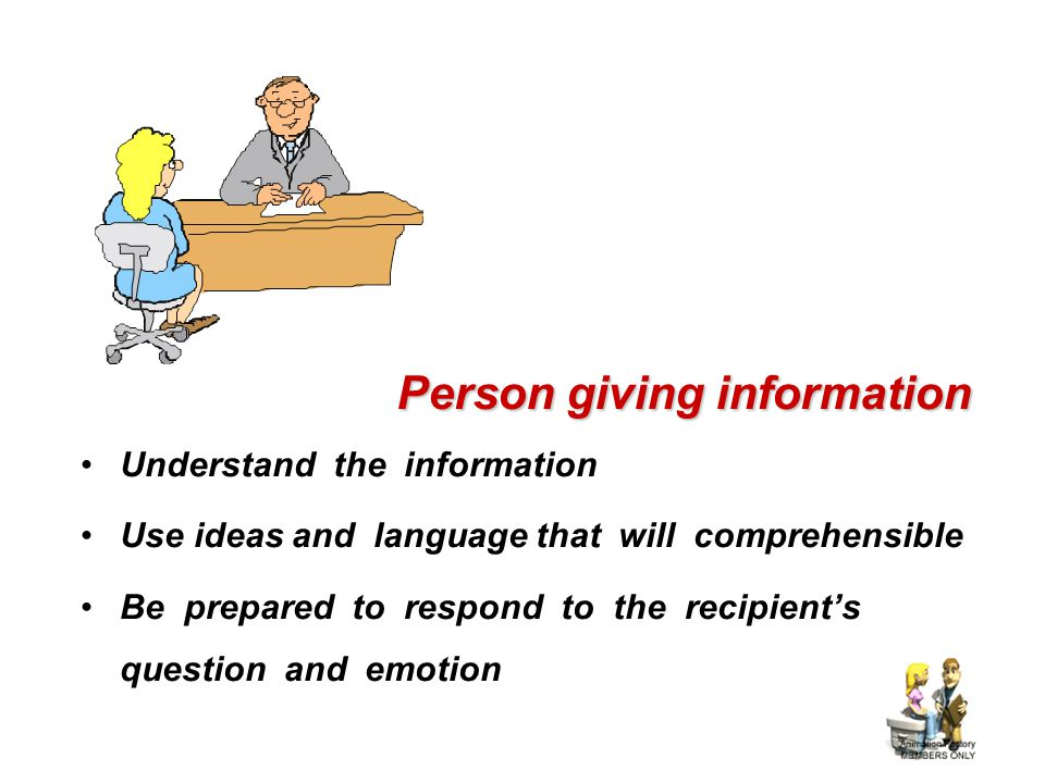 Person giving information