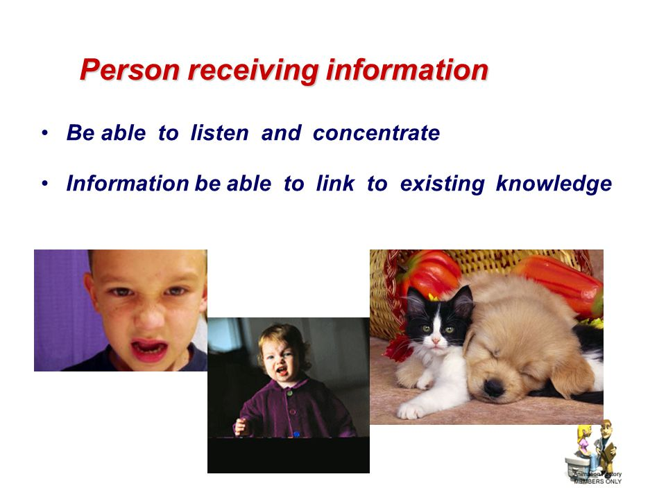 Person receiving information