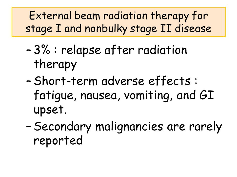 3% : relapse after radiation therapy