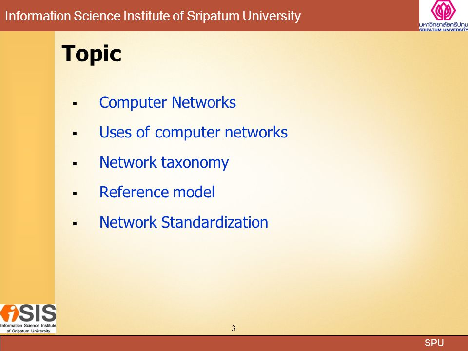 Topic Computer Networks Uses of computer networks Network taxonomy
