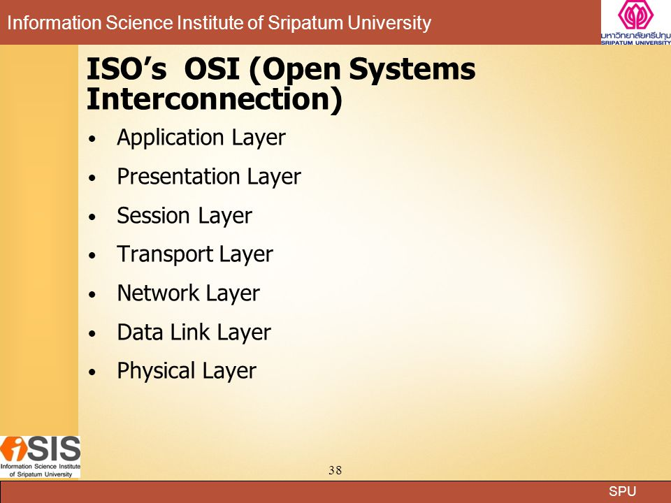 ISO's OSI (Open Systems Interconnection)