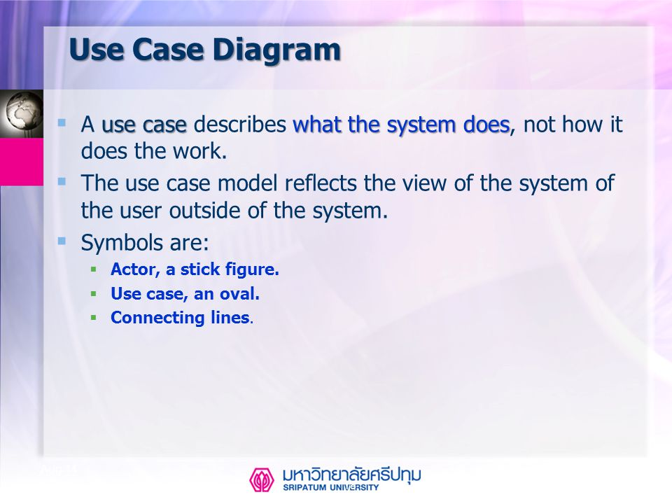 Use Case Diagram A use case describes what the system does, not how it does the work.