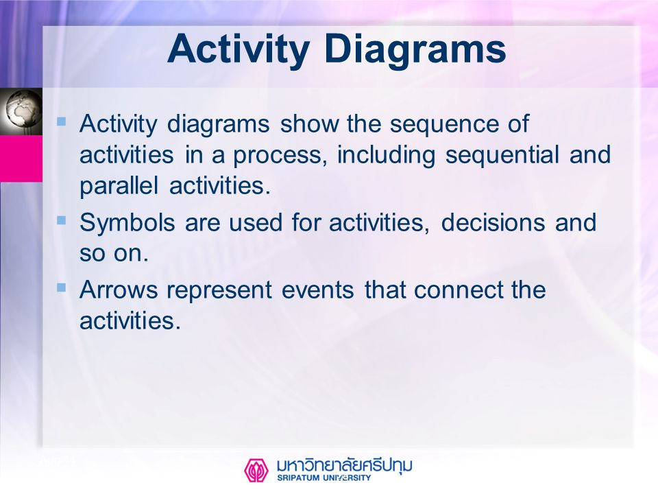Activity Diagrams Activity diagrams show the sequence of activities in a process, including sequential and parallel activities.