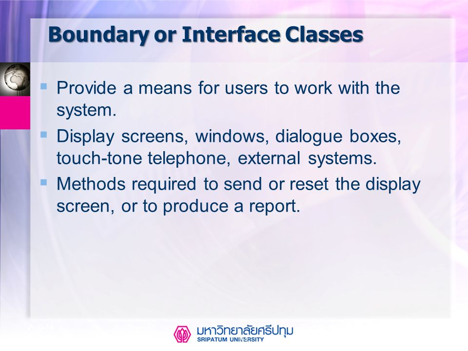 Boundary or Interface Classes
