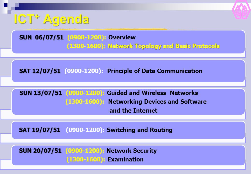 ICT+ Agenda SUN 13/07/51 (0900-1200): Guided and Wireless Networks