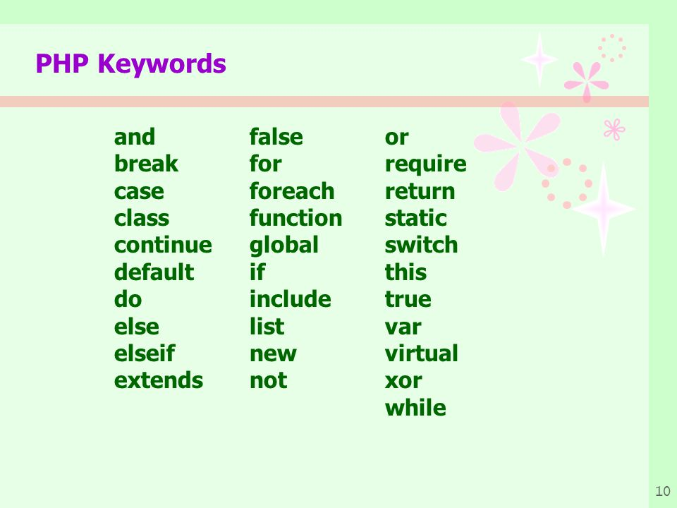 PHP Keywords and false or break for require case foreach return