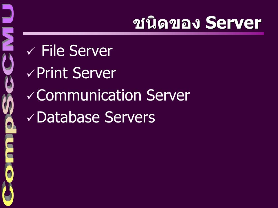 ชนิดของ Server File Server Print Server Communication Server