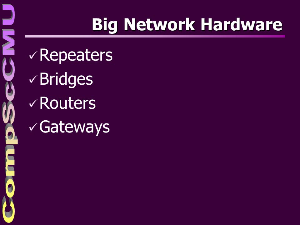 4/4/2017 Big Network Hardware Repeaters Bridges Routers Gateways