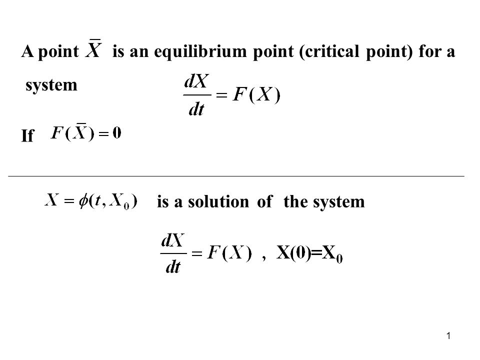A point is an equilibrium point (critical point) for a