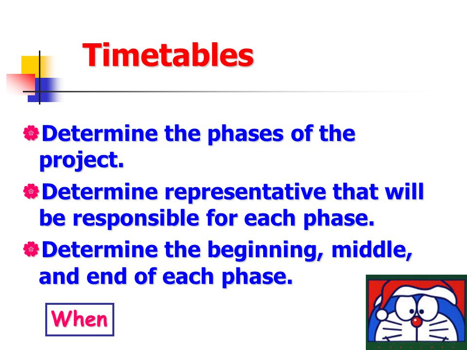 Timetables Determine the phases of the project.