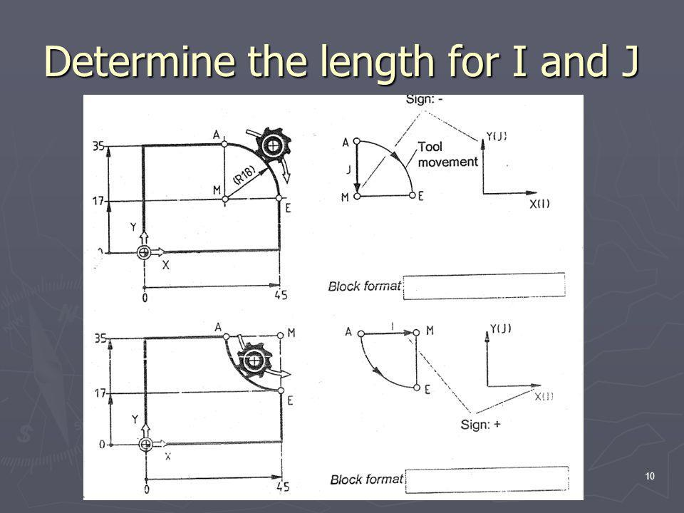 Determine the length for I and J